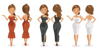 Models. Beautiful woman. wearing elegant dress. White, black and red. Clothing design and hairstyles. Front view, rear. Vector illustration, isolated white Stock Image