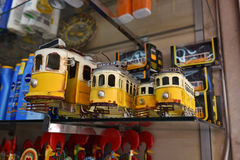Models old yellow trams as souvenirs Stock Photos