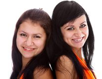Models in orange dresses Royalty Free Stock Photography