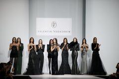 Models on podium Royalty Free Stock Image