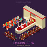 Models on podium in vector flat fashion show concept Royalty Free Stock Photo