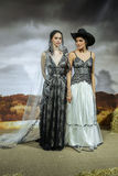 Models pose at the Claire Pettibone Bridal SS 2016 Runway Show Royalty Free Stock Photography