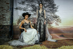 Models pose at the Claire Pettibone Bridal SS 2016 Runway Show