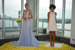 Models pose during the Fall 2015 Bridal Collection Pamella Roland Presentation. NEW YORK, NY - OCTOBER 13: Models pose during the Fall 2015 Bridal Collection Royalty Free Stock Image