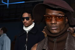 Models pose at the Gypsy Sport presentation during New York Fashion Week Men's Fall/Winter 2016 Stock Image