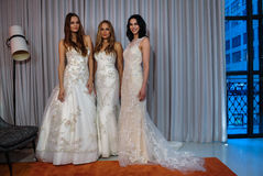 Models pose at the Henry Roth Bridal Spring 2016 Collection presentation. NEW YORK, NY - APRIL 22: Models pose at the Henry Roth Bridal Spring 2016 Collection Royalty Free Stock Photos