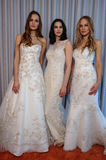 Models pose at the Henry Roth Bridal Spring 2016 Collection presentation. NEW YORK, NY - APRIL 22: Models pose at the Henry Roth Bridal Spring 2016 Collection Royalty Free Stock Image
