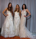 Models pose at the Henry Roth Bridal Sprng 2016 Collection presentation. NEW YORK, NY - APRIL 22: Models pose at the Henry Roth Bridal Sprng 2016 Collection Stock Image