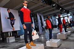 Models pose at the Nautica Fall 2017 presentation Stock Images