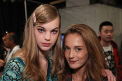Models posing backstage before the Anna Sui Spring 2017 Fashion Show Royalty Free Stock Photography
