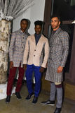 Models posing backstage at the ANTINOO Menswear FALL 2017 Metamorphosis Collection Royalty Free Stock Photography