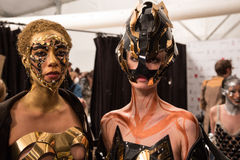 Models posing backstage at the FTL Moda fashion show during MBFW Fall 2015 Royalty Free Stock Photography