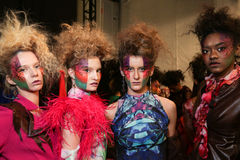 Models posing backstage at the FTL Moda fashion show during MBFW Fall 2015 Stock Images