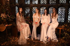 Models posing during the Claire Pettibone Four Seasons Collection Showcase Stock Photos