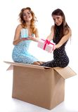 Models with presents Stock Photo