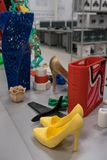 Bright colorful objects printed on a 3d printer on a white table in nano laboratory stock image