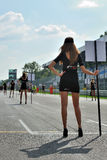 Models for race start in Monza race track Stock Photo