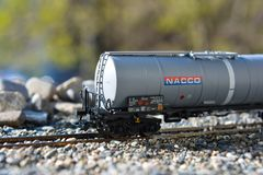 Models of the railroads Marklin, Big railway tank NACCO Stock Photo