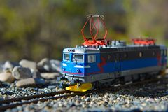 Models of the railroads Roco HO, electric locomotive RC6 1422 Stock Photo