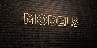 MODELS -Realistic Neon Sign on Brick Wall background - 3D rendered royalty free stock image Royalty Free Stock Image
