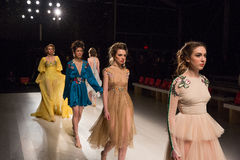 Models at rehearsal at the FTL Moda fashion show during MBFW Fall 2015 Stock Photography