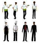 Models for restaurant uniform drawing Royalty Free Stock Images
