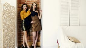 Models show clothes, elegant young women in fashionable clothing posing on high heels on brick wall background
