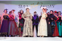 Models on show of designer Slava Zaitsev Royalty Free Stock Photo
