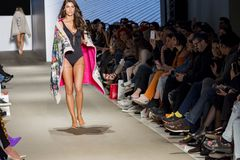 Models with swimsuit catwalk. In a fashion show, athens, greece royalty free stock photo