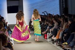 Models with swimsuit catwalk. In a fashion show, athens, greece Royalty Free Stock Photography