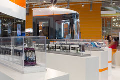 Models train on exhibition at the Second Eurasian Congress and Exhibition ExpoCityTrans-2012 Stock Image