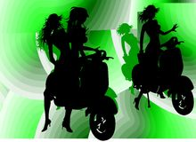 Models with Vespa Silhouette. Funny silhouettes of girls riding Vespa Stock Image