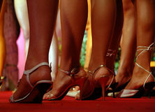 Models waiting in line (*). Nice legs and nice shoes at the defile Royalty Free Stock Photo