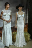 Models walk at the Claire Pettibone Bridal Spring/Summer 2016 Runway Show Royalty Free Stock Photo