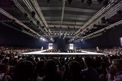Models walk at podium during Valentin Yudashkin show Royalty Free Stock Image