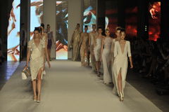 Models walk the runway during the Aigner show as a part of Milan Fashion Week Royalty Free Stock Photo