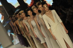 Models walk the runway during the Aigner show as a part of Milan Fashion Week Royalty Free Stock Photos