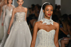 Models walk the runway during the Amsale Fall/Winter 2016 Couture Bridal Collection runway show Stock Photo
