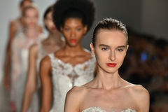 Models walk the runway during the Amsale Fall/Winter 2016 Couture Bridal Collection runway show Stock Photos