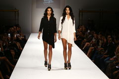 Models walk the runway at the Anje fashion show during Spring 2016 New York Fashion Week Stock Image