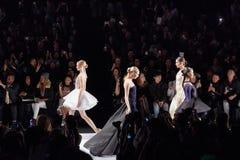 Models walk runway at the Art Heart fashion show during MBFW Fall 2015 Royalty Free Stock Photos