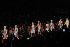Models walk runway at the Art Heart fashion show during MBFW Fall 2015 Stock Photography
