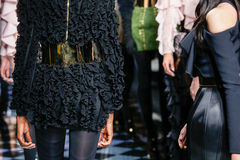 Models walk the runway during the Balmain show Stock Photos