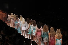 Models walk the runway during the Blumarine show as a part of Milan Fashion Week. MILAN, ITALY - SEPTEMBER 19: Models walk the runway during the Blumarine show royalty free stock photography