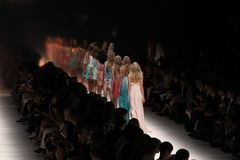 Models walk the runway during the Blumarine show as a part of Milan Fashion Week. MILAN, ITALY - SEPTEMBER 19: Models walk the runway during the Blumarine show Royalty Free Stock Photo