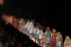 Models walk the runway during the Blumarine show as a part of Milan Fashion Week. MILAN, ITALY - SEPTEMBER 19: Models walk the runway during the Blumarine show Stock Images