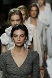 Models walk the runway during Bottega Veneta show as a part of Milan Fashion Week Stock Image