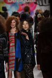 Models walk the runway at the Desigual fashion show during Mercedes-Benz Fashion Week Fall 2015 Royalty Free Stock Photography