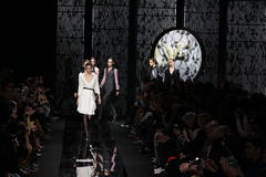 Models walk the runway at the Diane Von Furstenberg fashion show during MBFW Fall 2015 Royalty Free Stock Images