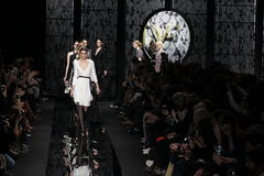 Models walk the runway at the Diane Von Furstenberg fashion show during MBFW Fall 2015 Royalty Free Stock Photography